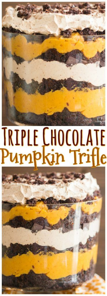 Super simple, but show-stopping, this Chocolate Pumpkin Trifle features layers of moist chocolate cake, chocolate whipped cream, chocolate chips, and pumpkin pudding!