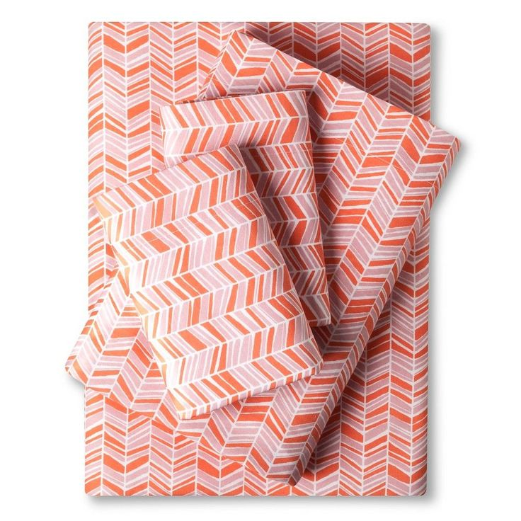 Easy Care Sheet Set (Twin) Coral Chevron - Room Essentials