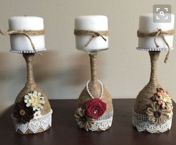 Wine glass candle holders di Beartsandcrafts su Etsy