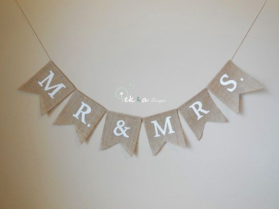 M. & Mme bannière de toile de jute / guirlande de mariage / les accessoires photo de mariage / réception décoration de mariage / mariage bunting / mariage bannière de toile de jute sur Etsy, 13,13€