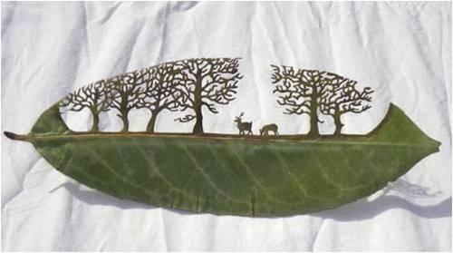 ART OUT OF LEAVES!!  Leaf Cut Art by Lorenzo Durán      Via: Design Milk