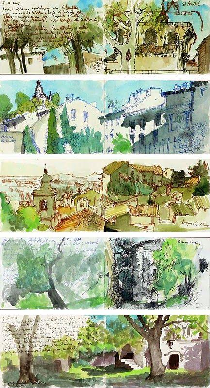 watercolors in sketchbook