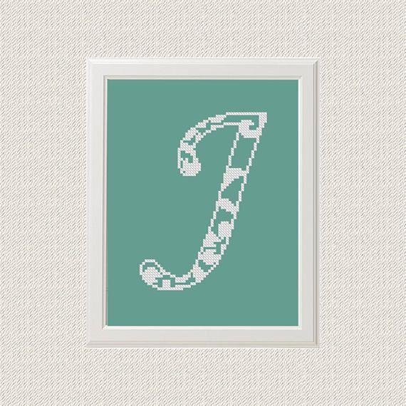 Only J letter Monogram Cross Stitch Pattern chevron Monogram