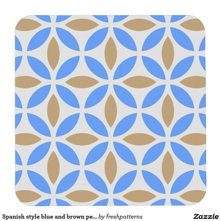 Spanish style blue and brown petals square paper coaster