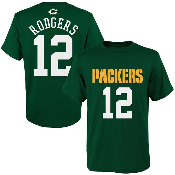 Youth Aaron Rodgers Green Bay Packers Outerstuff Green HD Name and Number T-Shirt