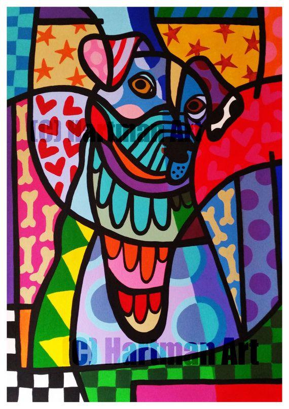 jack russel dog colorful happy Art Printdog art by ElsHartmanArt