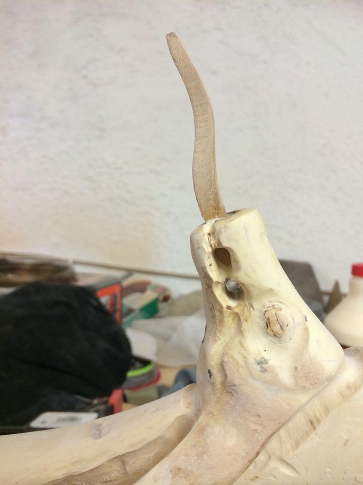 Particolare testa serpente del bastone di Asclepio