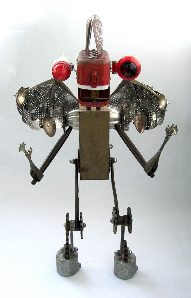 https://flic.kr/p/72P9Bu | Devastator Front - Found Object Robot Creature Assemblage Sculpture | Inspired by the movie 9 that recently came out. Robot sculpture assembled from found objects by Brian Marshall - Wilmington, DE. Items included in my sculptures vary from vintage household kitchen items to recycled industrial scrap. Some of my favorite items to use are old oil cans, aluminum measuring spoons, electrical meters, retro blenders, anodized cups, and pencil sharpeners.