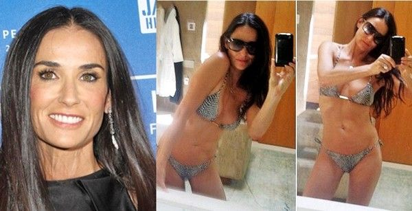 Pro vegan: Demi Moore's age-defying physique at 51 is due to a raw vegan diet and Pilates and yoga workouts.