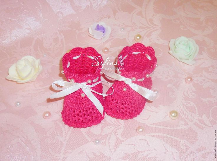 Купить Пинетки Нежность для девочки, пинетки для новорожденных - комбинированный, пинетки для новорожденных, пинетки купить