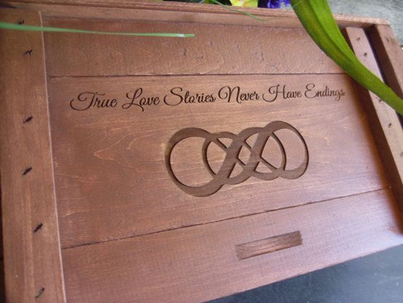 Wine Box  for Rustic Wedding with Infinity Knot Custom Engraved Weddings,Gifts, Anniversaries on Etsy, $79.00