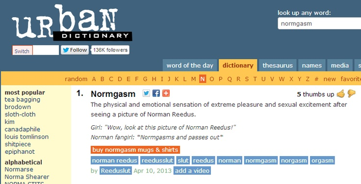 "Urban Dictionary definition of ""Normgasm"".  Wow! Love Urban Dictionary ;)"