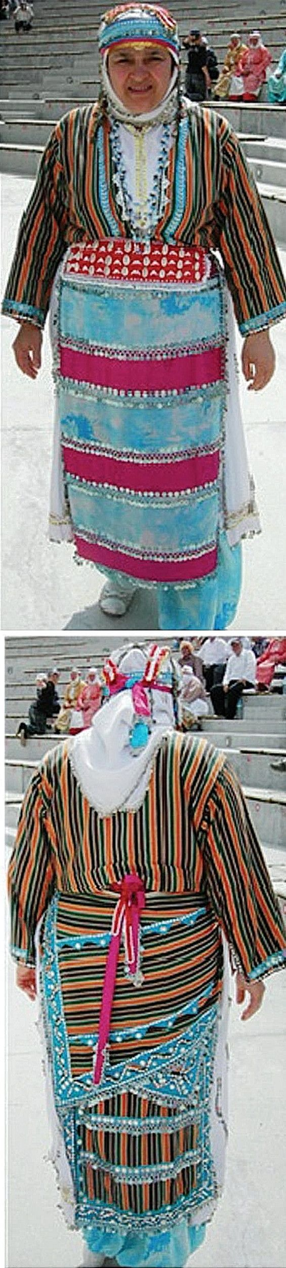 A traditional festive costume from the village of Kozluören (in the Soma district, in the North of the Manisa province).  Ethnic group: Tahtacı, Alevi Türkmen.  Recent pictures, 2014.