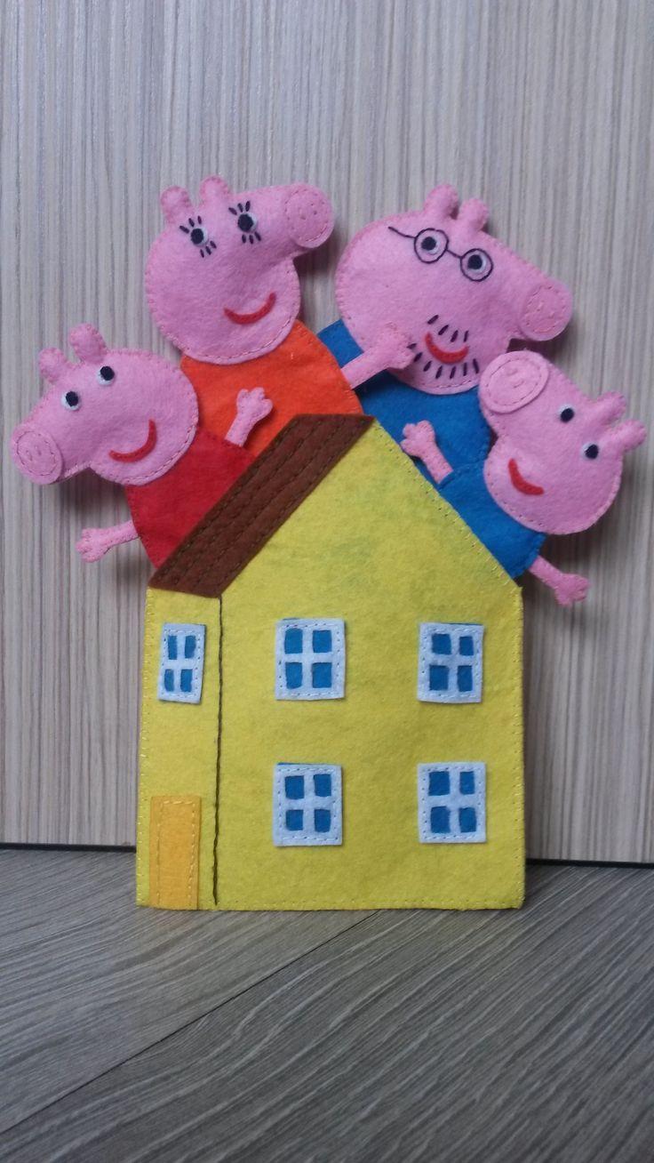 Peppa pig, Finger Theatre, felt, the product of felt, handmade, Finger Puppets