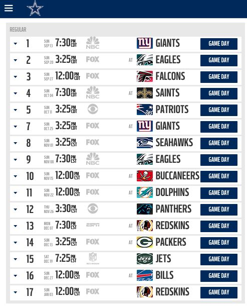 Hot off the presses! Here's the Dallas Cowboys 2015 regular season schedule.