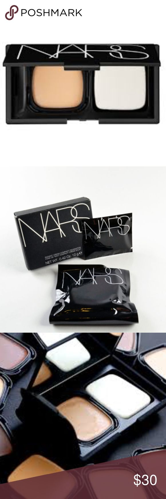 NIB NARS Radiant Cream Compact Foundation in Barce NIB NARS Radiant Cream Compact Foundation Refill in Barcelona + Sponge  DISCONTINUED in the US  VERSATILE CREAM FOUNDATION BLENDS SEAMLESSLY AND BRILLIANTLY EVENS SKIN WITH MEDIUM BUILDABLE COVERAGE AND A LIGHTWEIGHT LUMINOUS FINISH. APPLIED WET OR DRY, SKIN LOOKS SOFT, SMOOTH AND LUMINOUS. NARS Makeup Foundation