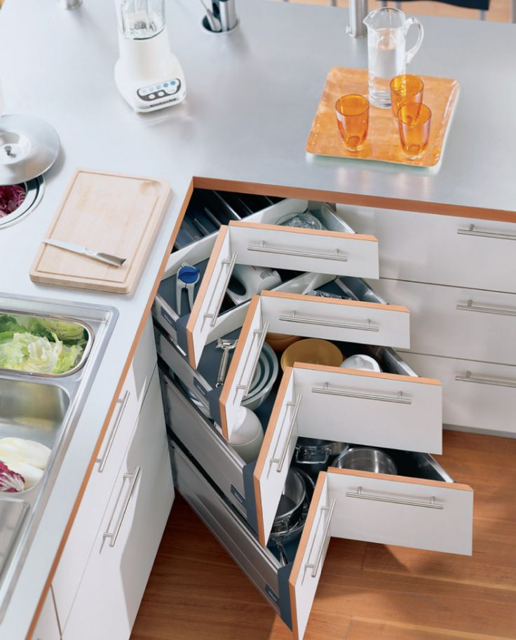 Meuble d'angle cuisine moderne et rangements gain de place pour optimiser l'espace vide