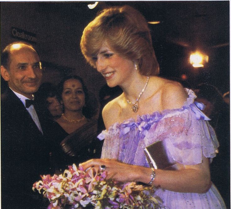 December 2, 1982: Princess Diana at the premiere of the film 'Gandhi' in at the Odeon Cinema, Leicester Square. (Ben Kingsley behind her)
