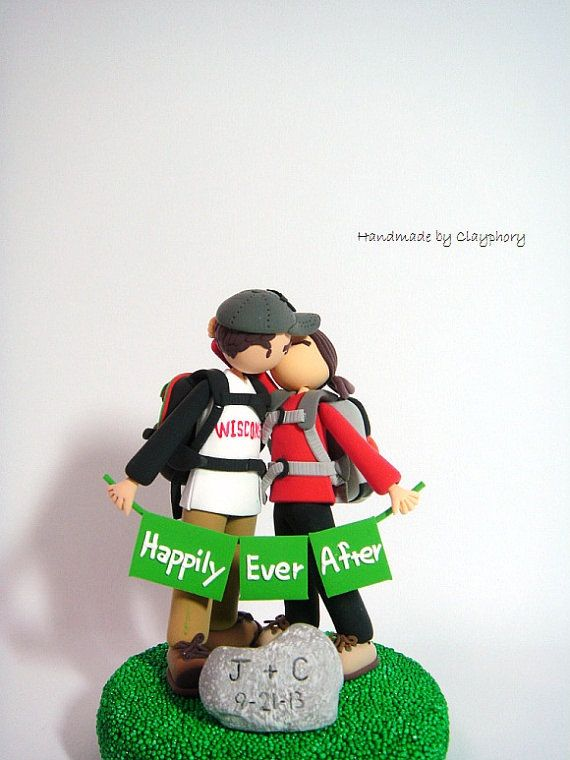 Avid hikers customized wedding cake topper by Clayphory on Etsy, $170.00