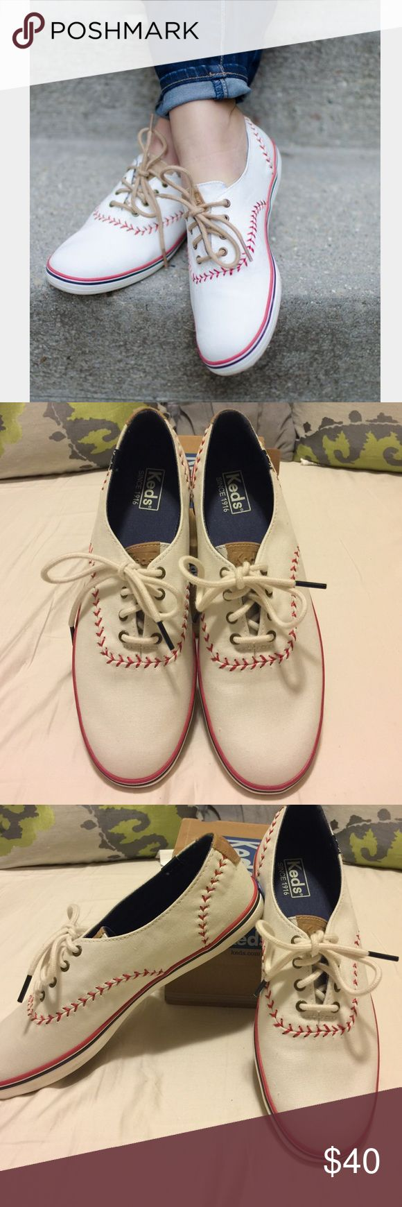 🎉Baseball keds🎉 How adorable are these eye-catching sneakers featuring a  baseball inspired pattern!!! Whether you're wearing these to the Little League baseball game or a MLB  game you are sure to be the center of attention. 🎉Brand New🎉size 9 Keds Shoes Sneakers