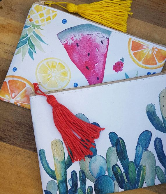 Bags / Pencil Cases / Makeup Bags / Clutches / Watercolour Bags / Stationary / Fruit / World Map / Feathers / Cactus / Tassels