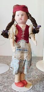 Antique-Ethnic-Costume-Made-in-Hungary-European-Cloth-Doll-w-Composition-Head