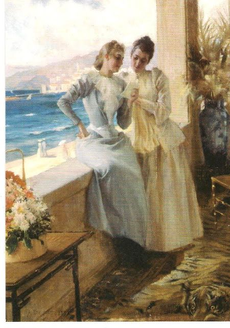 Paintings by Albert Edelfelt -  It shows his wife Ella Edelfelt and Emilie von Etter on a balcony in Cannes, 1892