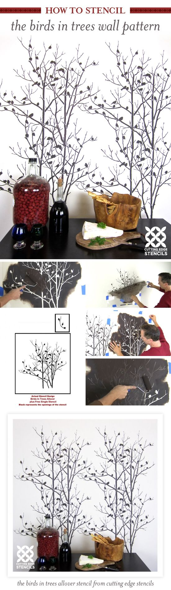 368 best stenciling has come a long way from ivy vines images on cutting edge stencils shares how to stencil an accent wall using the birds in trees allover amipublicfo Image collections