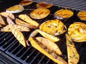 Grilled Sweet Potatoes and Grilled Squash: Grilled Onions, Grilled Veggies, Sweet Potato Fries, Sweet Potatoes Fries, Eggplants Sandwiches, Sandwiches Recipes, Grilled Sweet Potatoes, Favorite Recipes, Grilled Eggplants