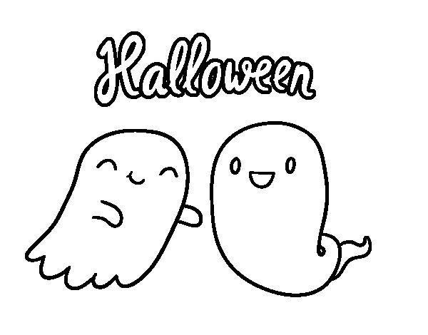 Dibujo de Fantasmas de Halloween para Colorear.