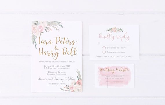 Welcome!  This listing is our Sophie Suite! Its a gorgeous lush floral watercolour wedding invitation in a digital printable format. **Be advised there is no physical product**  //CUSTOM INVITATION SUITE//  OPTIONS - Invitation only - Invitation plus RSVP Card - Invitation plus Info Card - Invitation plus RSVP & Info card  SIZING OPTIONS  --AU&UK-- INVITATIONS Standard - A6 (148mm x 105mm) Fits envelope - C6 (162 mm x 114mm)  Large - A5 (210mm x 148mm) Fits envelope - C5 (229 mm x 162mm)…