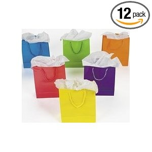 1 Dz Paper Gift Bags - Medium 9 Inch - 12 Bags Per Order -BRIGHT NEON SOLID - Any color bags will work
