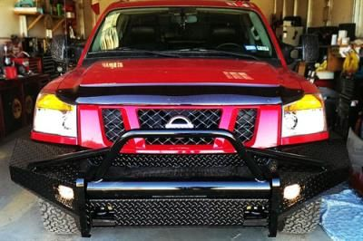 2012 NISSAN TITAN Fab Fours Grille Guard Front Ranch Bumper in Black Powder Coat Tread Plate: Grille Guard Front… #TruckParts #JeepParts