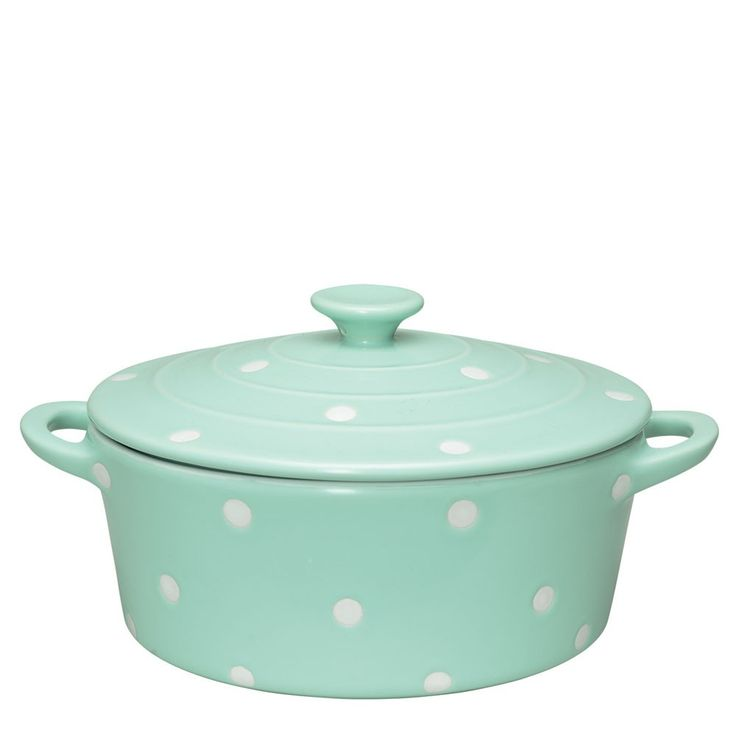 GreenGate Round Oven Casserole Dish With Lid Mint Dot. Greengate: the kitchen Cath Kidston.