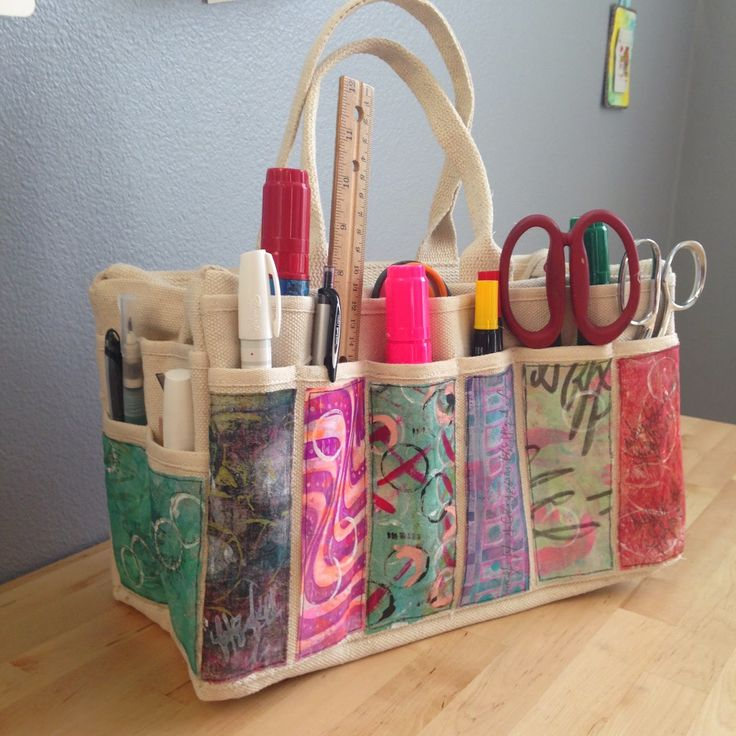 Gelli Printed Art Supply Tote Bag by NICOLE MAKI  When I saw decorated tool totes from Harbor Freight Tools on the Gelli Plate blog, I know I had to make one (or a dozen. LOL)   So cute! And these bags are intended to carry power tools so they're really sturdy. Perfect for carrying or storing projects.