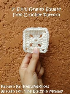 3 Inch Solid Granny Square - Free Crochet Pattern by EyeLoveKnots for The Stitchin' Mommy   http://www.thestitchinmommy.com