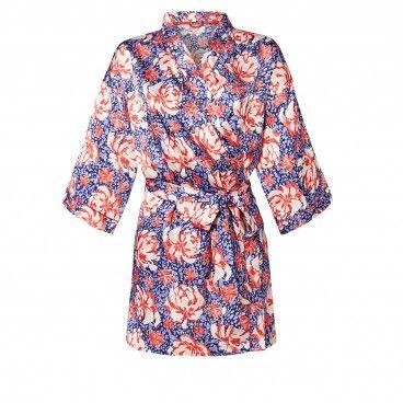 DAISY Kimono satin bleu | RougeGorge