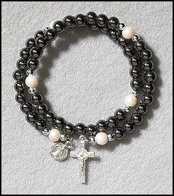 "PLC Saint Benedict of Nursia Wrap Rosary Bracelet Hematite 6mm Beads 8""L Adjustable . $4.71. 8"" L Adjustable. 6 mm Bead. Petite St Benedict Medal. Hematite"
