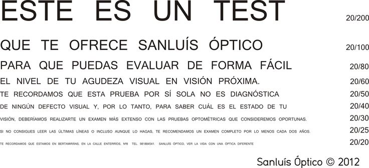 Test de agudeza visual para visión próxima