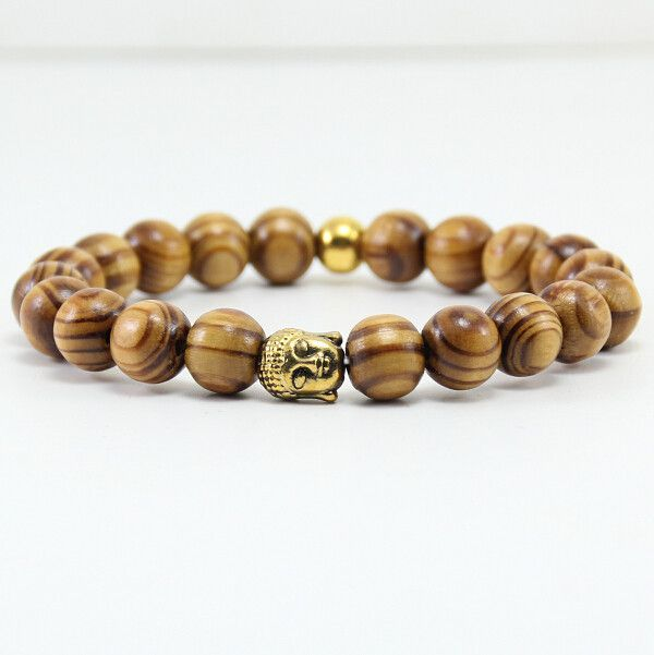 BB0331 New Fashion Buddha head bracelet, ancient gold Buddha head bracelet, men's natural wood bead bracelet Buddha head.