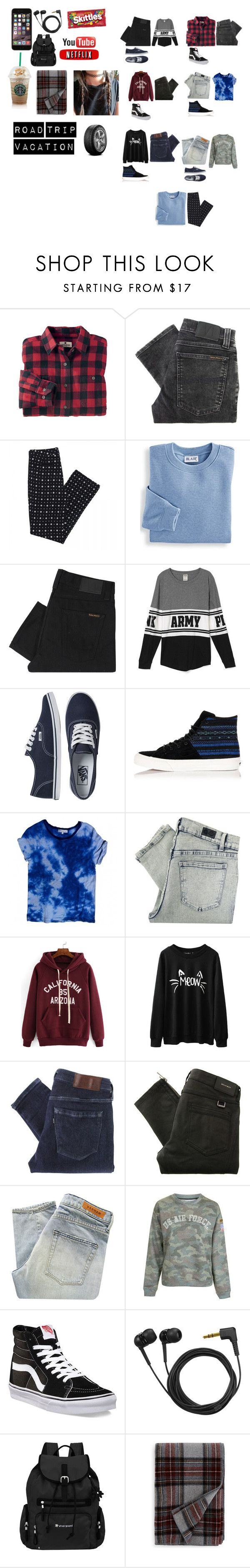"""road trip"" by jessiestone on Polyvore featuring Woolrich, Nudie Jeans Co., Blair, Vans, Sandro, Cheap Monday, Levi's Made & Crafted, Belstaff, Denham and Topshop"