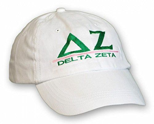 Women's Adjustable Delta Zeta Sorority World Famous Line Hat (White):    Look and feel great when you cruise campus in a cool Delta Zeta Line Hat. The sorority baseball cap features the group's official Greek letters and name using the trademark green and pink colors of the organization. The sorority's Greek letters are monogrammed in green above a pink line while the group's full name appears in the same green color below the line. The sorority baseball hat features a wide brim to blo...