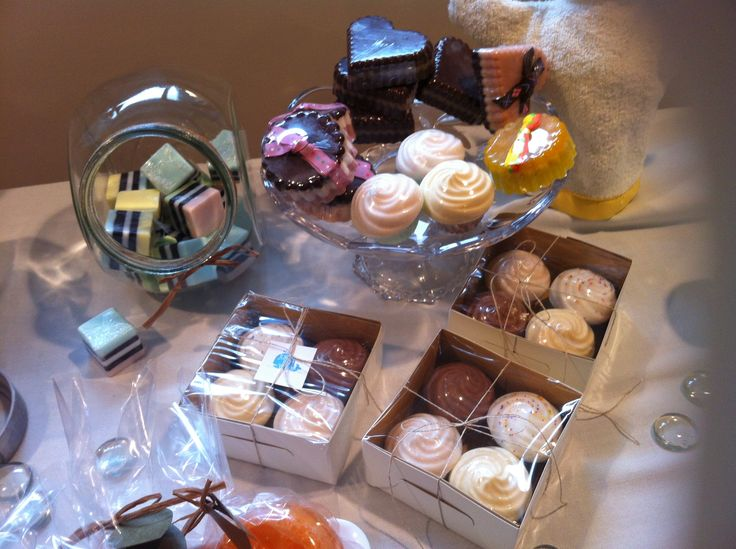 "Craft table set up. Theme was ""soaps and sweets""!"