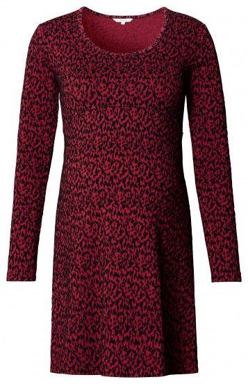 Dámské šaty pro těhotné s dlouhým rukávem NOPPIES - bordo-červená