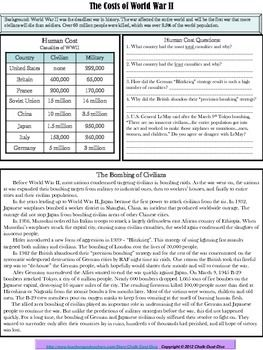 World War II – The Cost of War: Economic, Social, Political Worksheet  Using this informative worksheet, your students will be able to analyze the effects of World War II – economic, political and social. Students will analyze diverse sources and determine which cost of war was the most significant by writing a paragraph summary. $