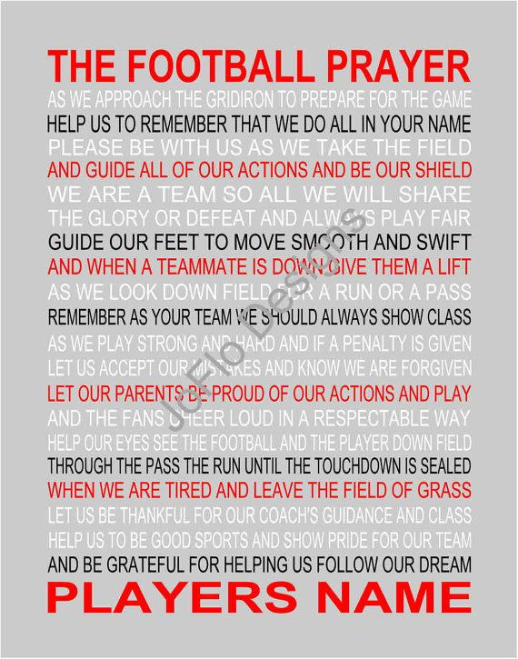 Have a special football player? Have a custom personalized print for a special football game or award. Words are in black and white...if you want other