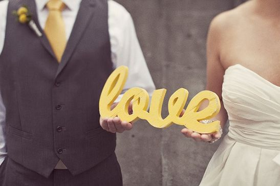 yellow and gray wedding love sign