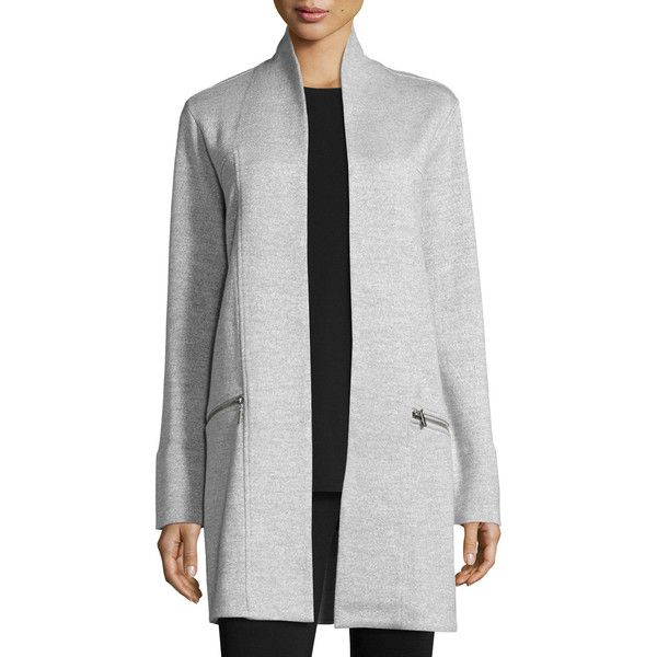 Nic+zoe Modernist Trench Coat Petite ($248) ❤ liked on Polyvore featuring outerwear, coats, grey, trench coat, petite coats, grey coat, petite trench coat and stand collar coat