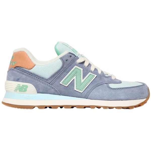 New Balance Women 574 Suede & Nylon Canvas Sneakers ($100) ❤ liked on Polyvore featuring shoes, sneakers, zapatos, plimsoll sneakers, new balance trainers, suede shoes, plimsoll shoes and nylon sneakers