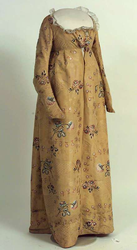This caption is wrong: this has got to be ca. 1800-1820 >> Dress from around 1748 - 1755, fabric probably from Spitalfields, London.